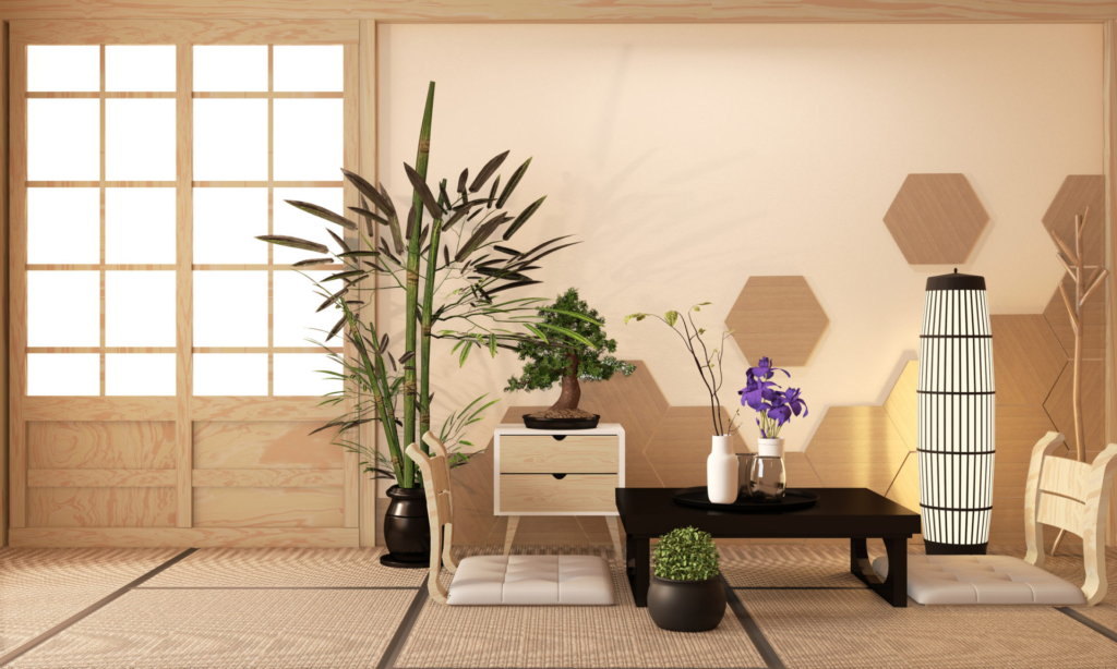 Japanese Ryokan, living room zen style with Hexagon tile on wall and tatami mat floor, decoration japanese style.3D rendering