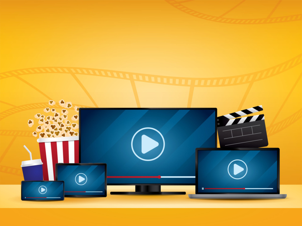 Streaming movie illustration vector.